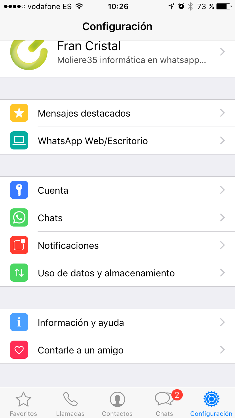 Actualización de WhatsAPP 2.17.1